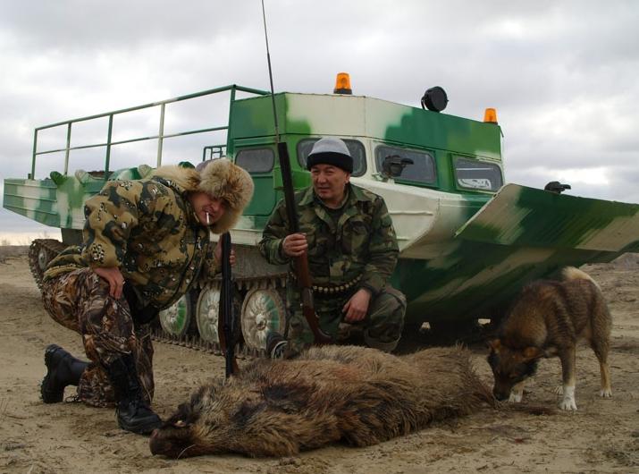 Охота на кабан.Казахстан