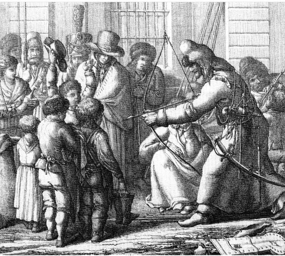 Башкир на улице Унтер ден Линден в Берлине, 1813 год. Художник: Карл Людвиг Кубейль.
