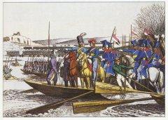 Неизвестный художник. Союзные войска переправляются через реку Рейн. Раскрашенная гравюра. Первая половина XIX