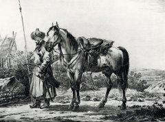 Башкир с лошадью. А. О. Орловский. Литография. 1809 г.