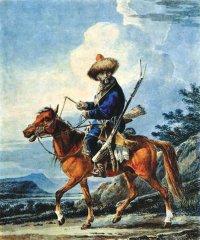 Башкир на рыжей лошади. А. О. Орловский. Бумага,акварель. Первая четверть XIX в.