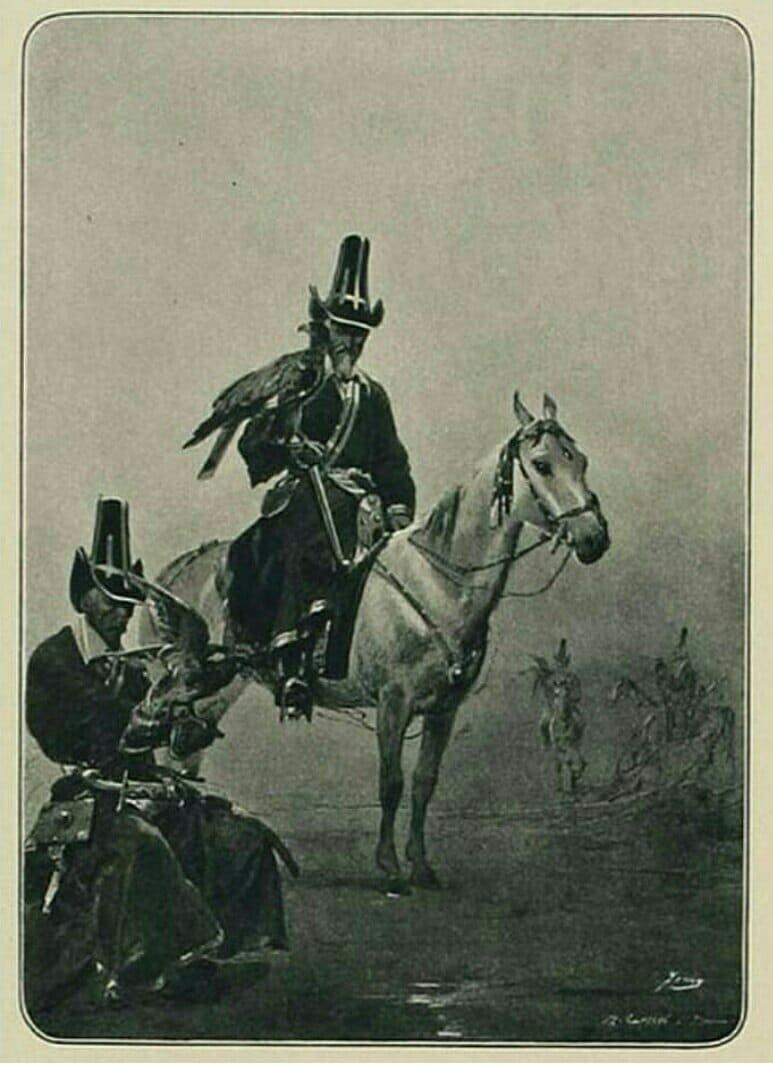 «Башкиры с соколами», автор рисунка М. А. Зичи.