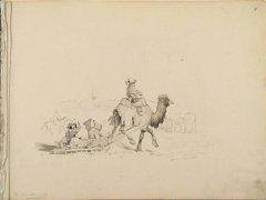 П. П. Иков. Лист №7. Башкир на верблюде запряженном в сани, 1846 - 1857 годы. Коллекция И. С. Зильберштейна.