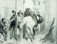 Картина художника-баталиста Б. П. Виллевальде «Башкир подаёт милостыню немке. Эпизод из войны 1813 года».