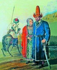 Башкирский кантонный начальник, с супругой.  Акварель неизвестного художника второй половины XIX века. Слева, воин Башкирского войска, в униформе образца 1857 года. Вдали мечеть Караван-Сарая в г. Оренбург, построенная в 1846 году башкирами.