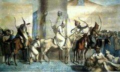 Башкиры в Париже. 1814 год.  Французская акварель неизвестного автора.